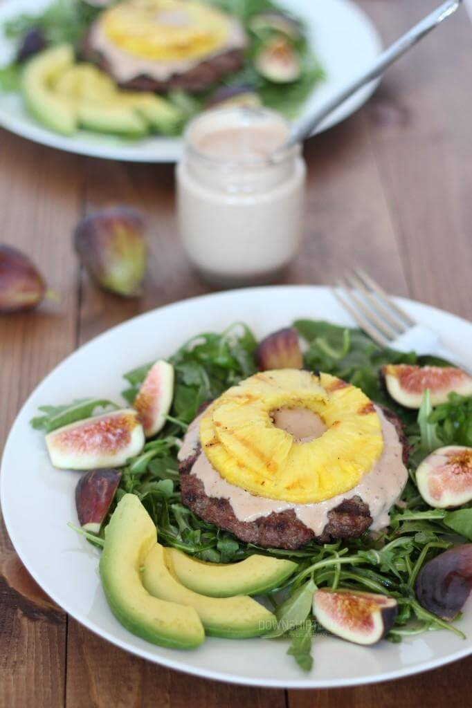 Pineapple Burger Bowl with Sweet Fig Mayonnaise | www.downshiftology.com