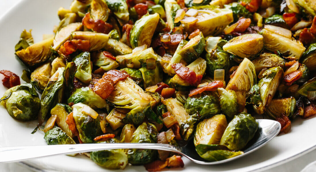 A spoonful of balsamic bacon brussels sprouts.