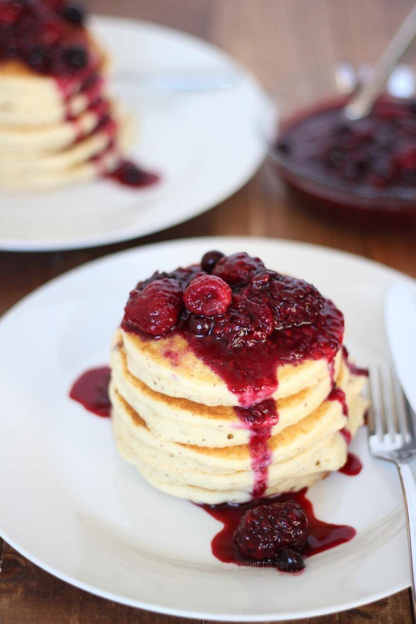 (gluten-free, nut-free, paleo). Nut-Free Paleo Pancakes with Triple Berry Compote. A fluffy and light pancake with sweet and delicious berry compote.