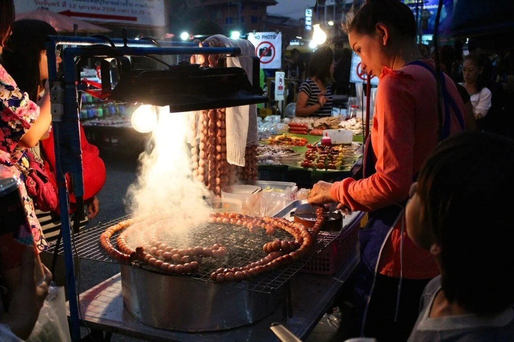 Thailand street food grilled pork balls