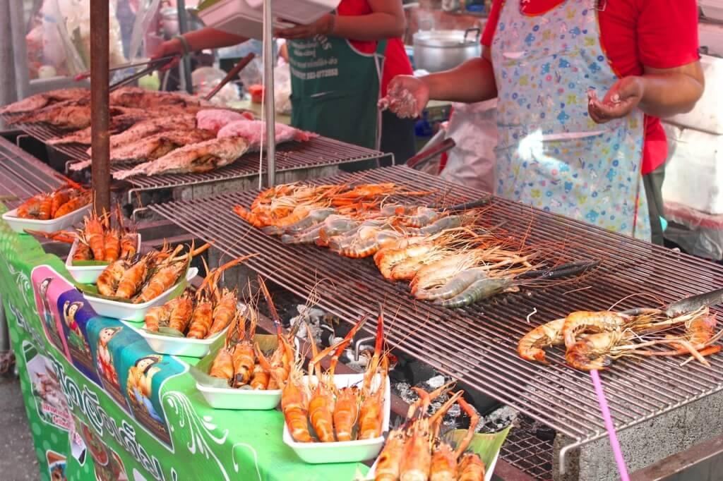 Thailand street food prawns