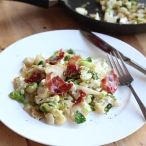 (gluten-free) warm cauliflower and prosciutto salad with chevre