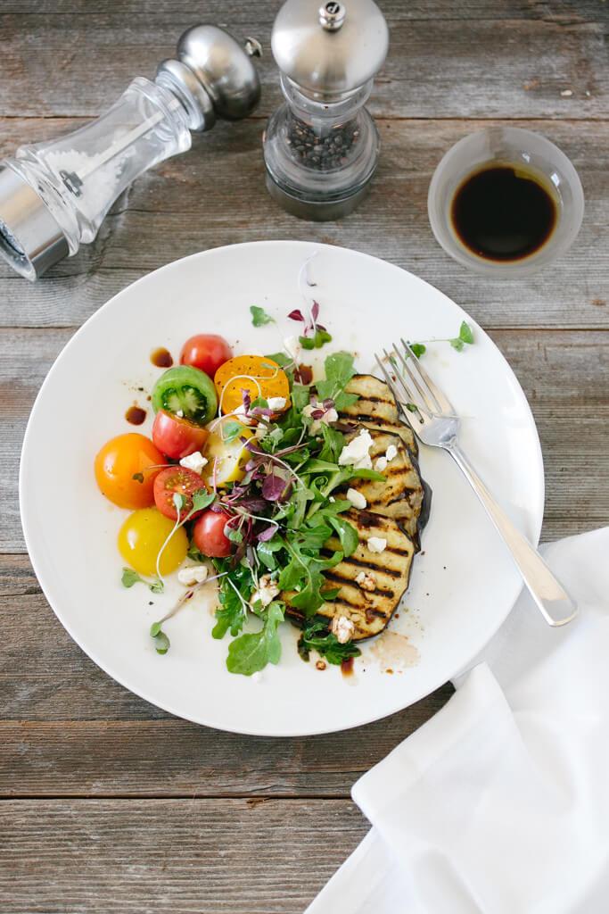 eggplant salad with tomatoes and arugula