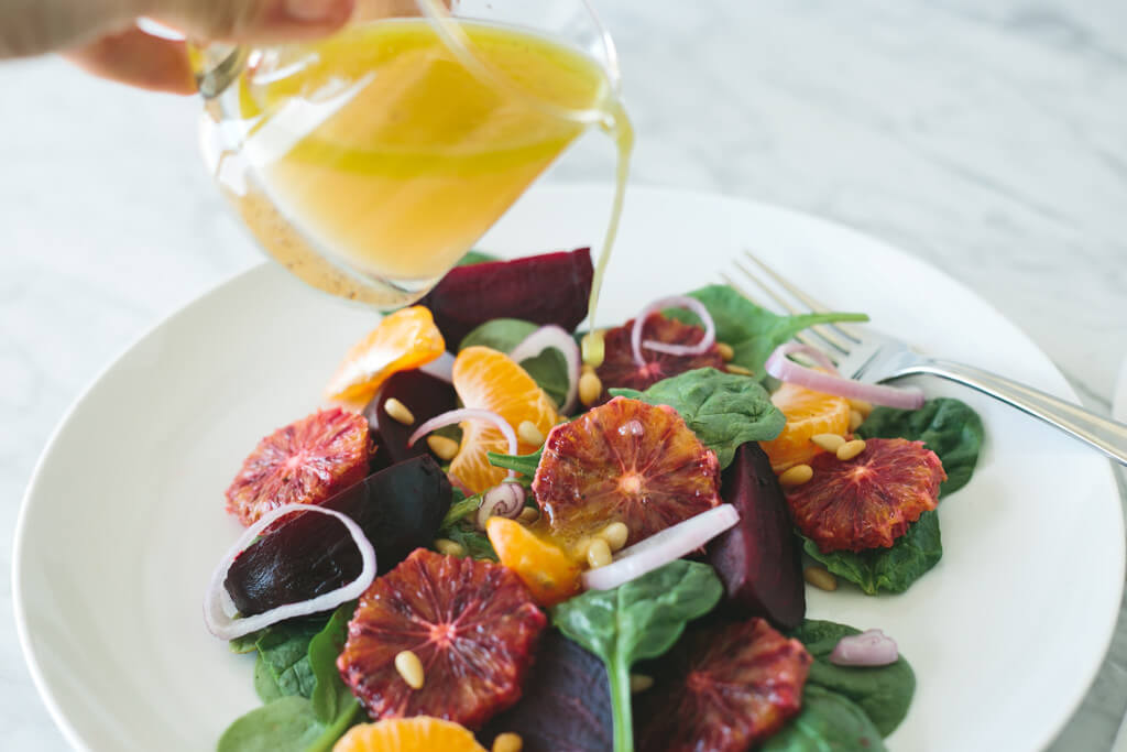 roasted beet, blood orange and mandarin salad
