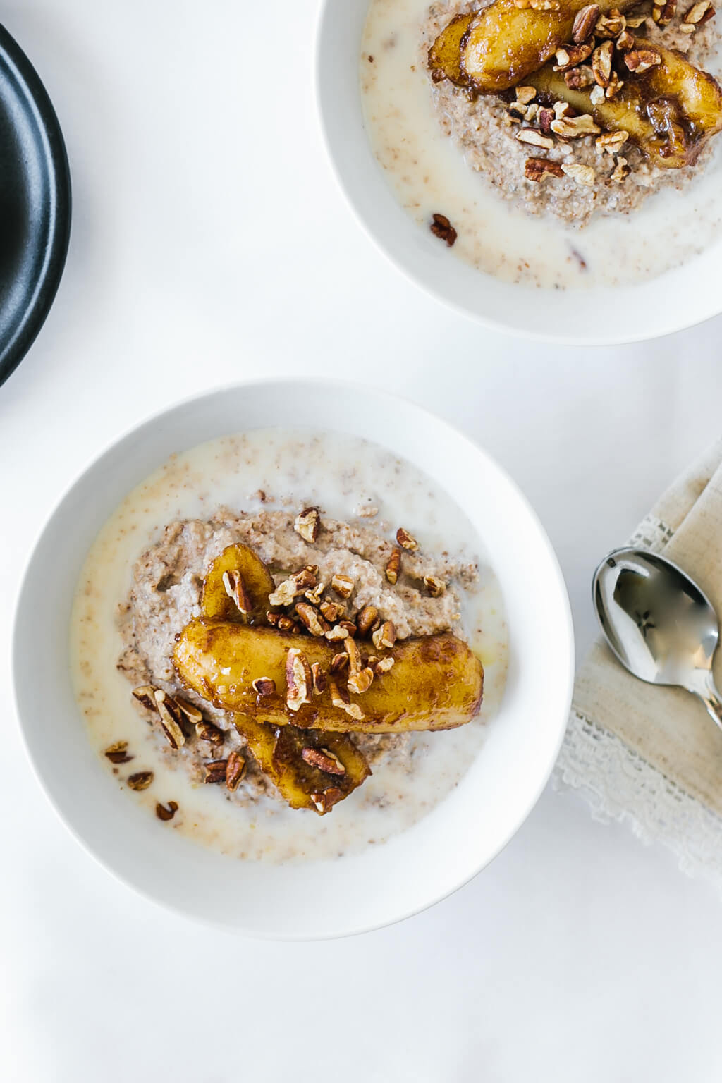 Paleo porridge with caramelized bananas. A delicious gluten-free, grain-free, dairy-free, paleo breakfast recipe.