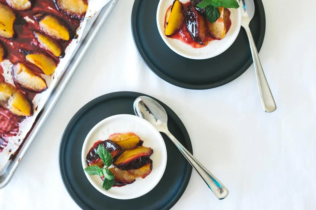 nectarine panna cotta with roasted plums