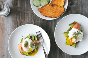 sweet potato toast with avocado, cucumber, smoked salmon and poached egg-4