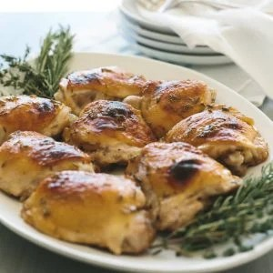 Herbed Honey Mustard Chicken. A sweet and spicy roasted chicken dish that's sure to be a family favorite.