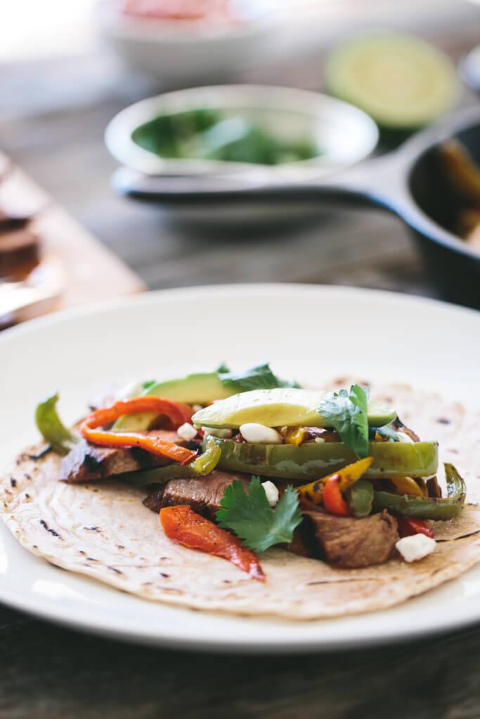 steak fajitas with cassava flour tortillas