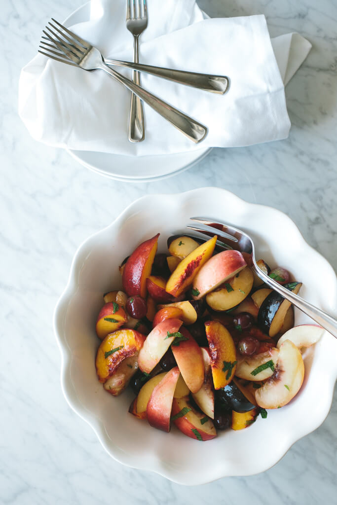 stone fruit salad with vanilla honey syrup