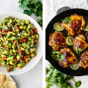 Two healthy labor day recipes next to each other.