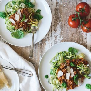 (gluten-free, paleo) Zucchini Noodle Bolognese. A healthier version of spaghetti bolognese, with zucchini noodles and homemade tomato bolognese sauce.