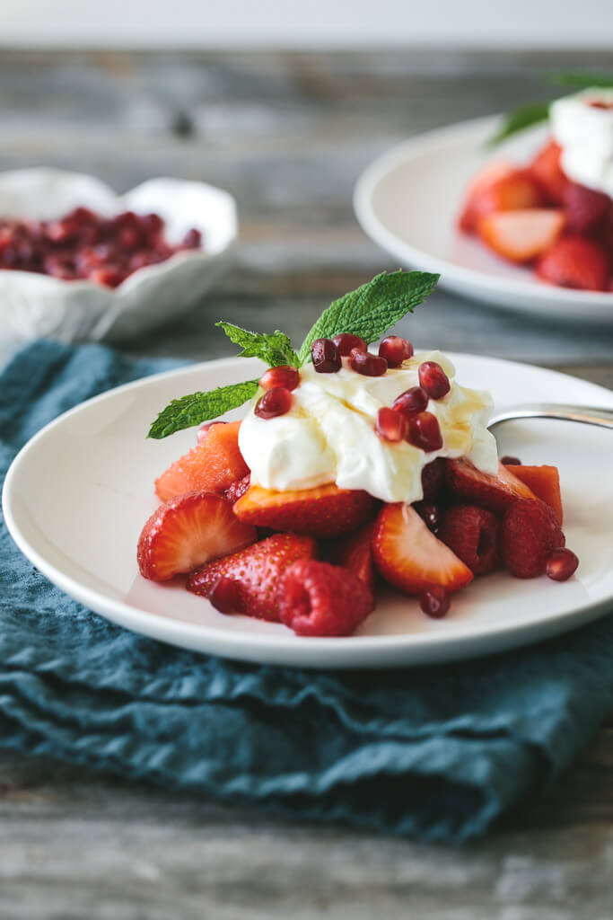 red fruit salad with yogurt