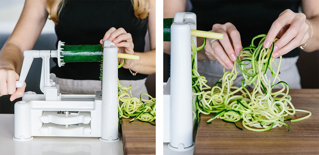 Making zucchini noodles with a spiralizer.