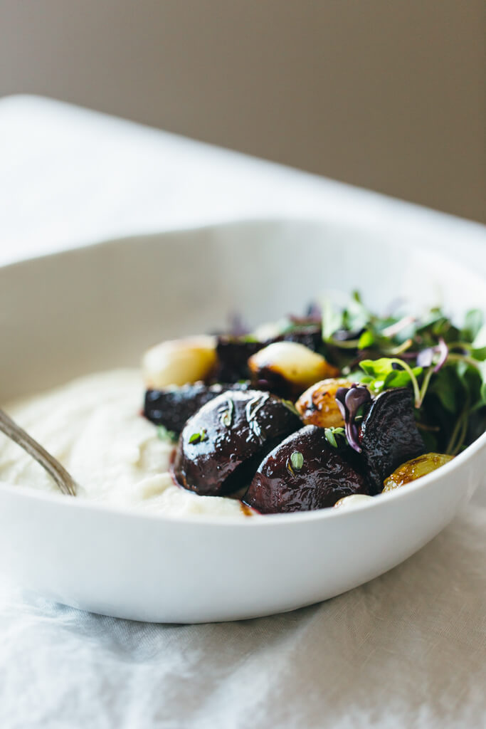 Celery root puree with balsamic roasted beets and pearl onions. A delicious veggie powered meal.