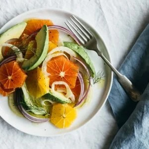 Orange, fennel and avocado salad with a white wine vinaigrette.