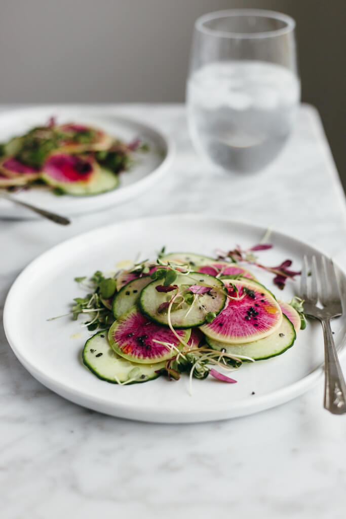 Watermelon radish and cucumber salad.