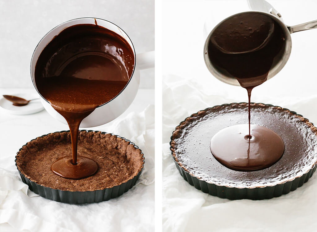 Pouring the chocolate filling to make the chocolate tart.