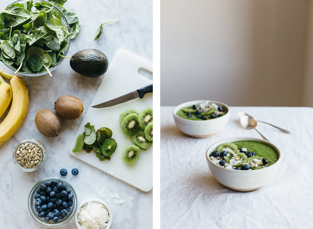 Clean green smoothie bowl | www.downshiftology.com