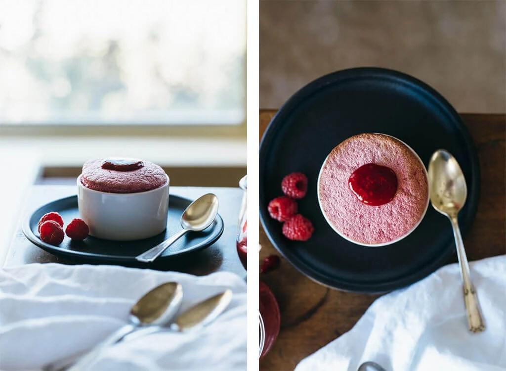 Raspberry souffle. A delicious gluten-free and refined sugar-free dessert (and perfect for Valentine's Day!).