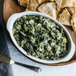 (dairy-free, paleo) Spinach and artichoke dip. A healthier version of the classic dip.