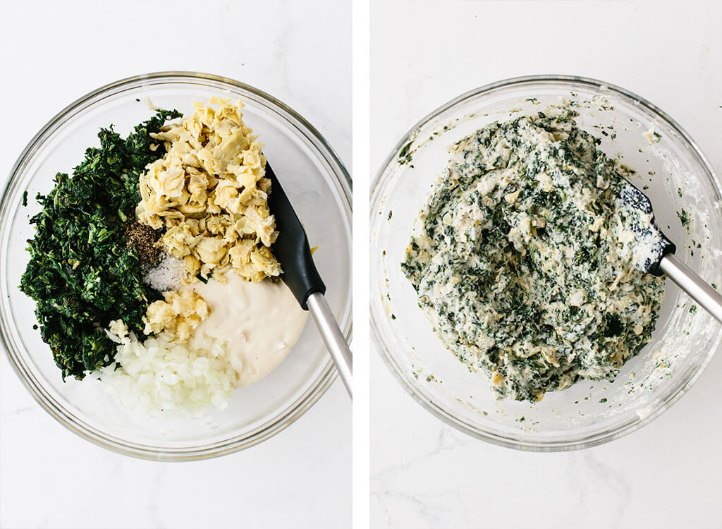Spinach artichoke dip ingredients mixed together in a bowl.