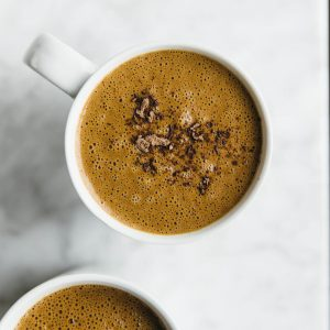 (dairy-free, vegan, paleo) Sexy superfood hot chocolate. A nutrient-packed hot chocolate that's made with raw cacao, maca powder and goji berries.