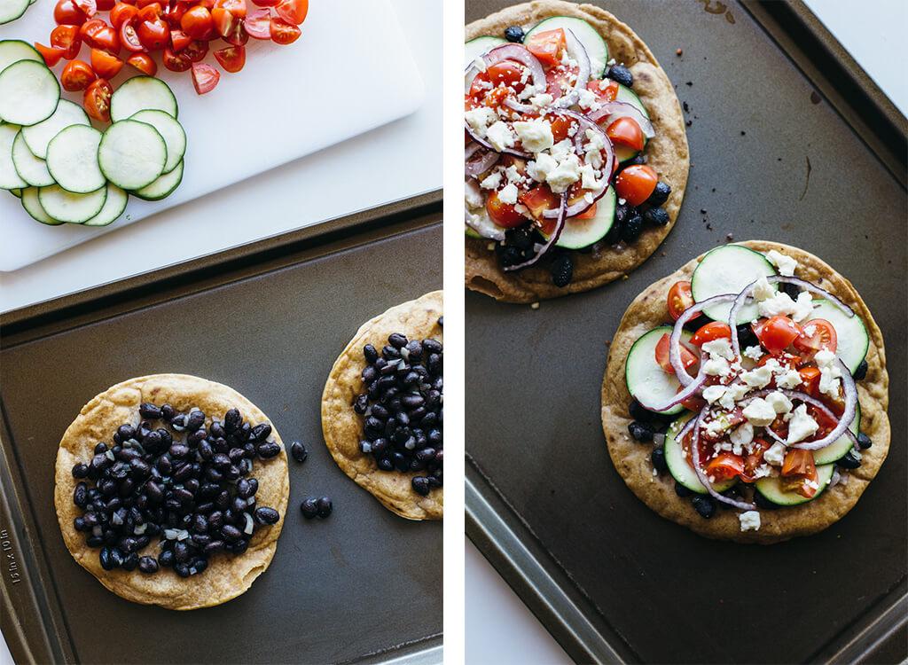 Black bean Mexican pizza on cassava flour tortilla. Gluten-free, grain-free, vegetarian.
