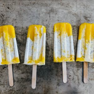 (dairy-free, vegan) Coconut chia mango popsicles. A creamy coconut mango popsicle with healthy chia seeds.