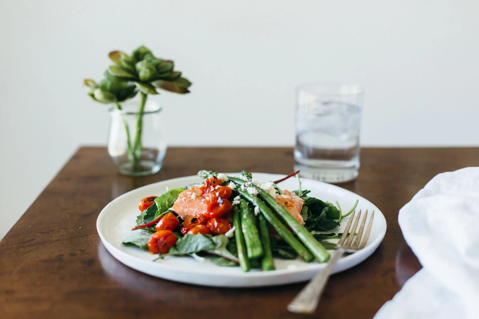 Salmon Asparagus Salad with Blistered Tomatoes. Healthy, Gluten-free and paleo.