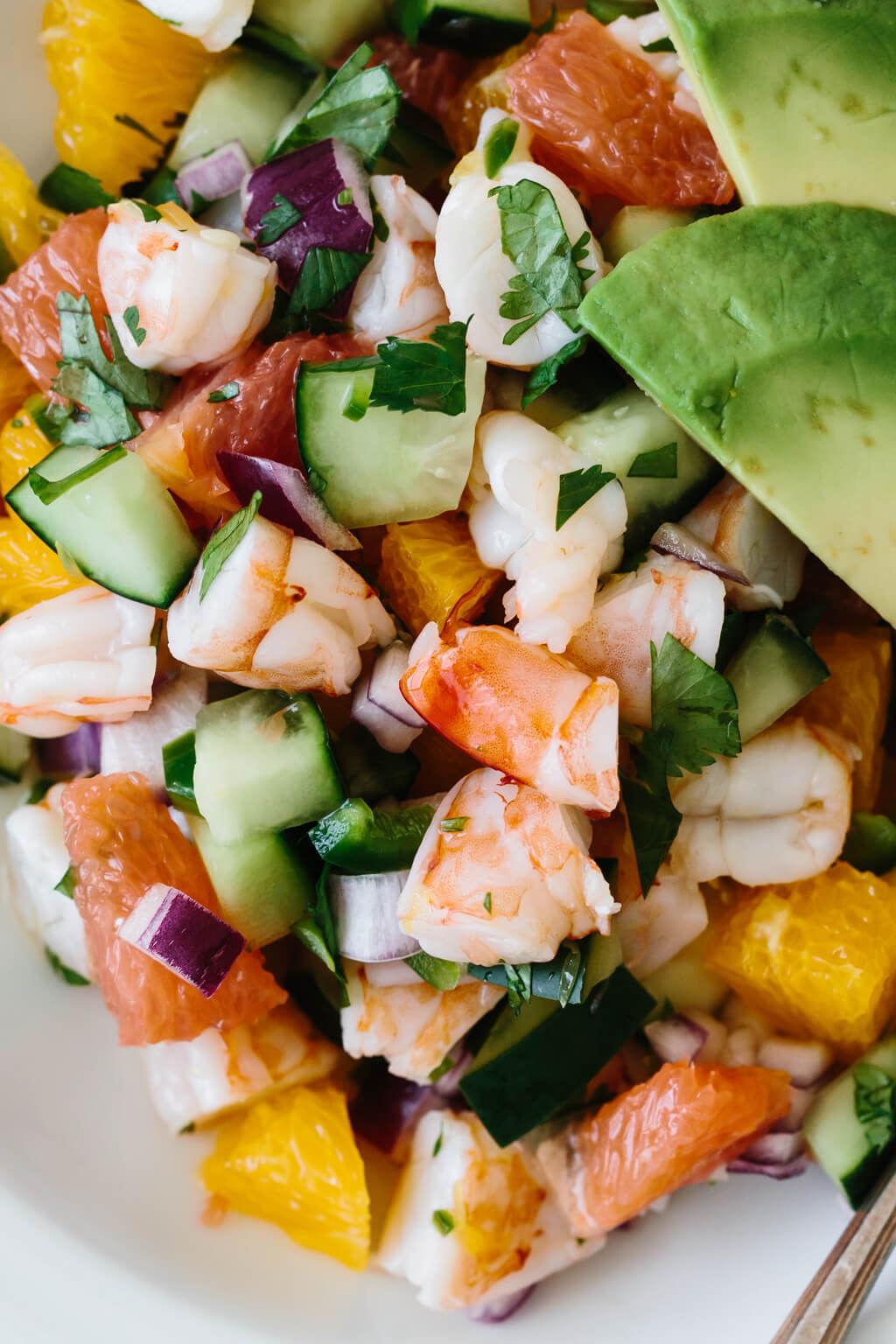 Up close photo of shrimp ceviche recipe ingredients.