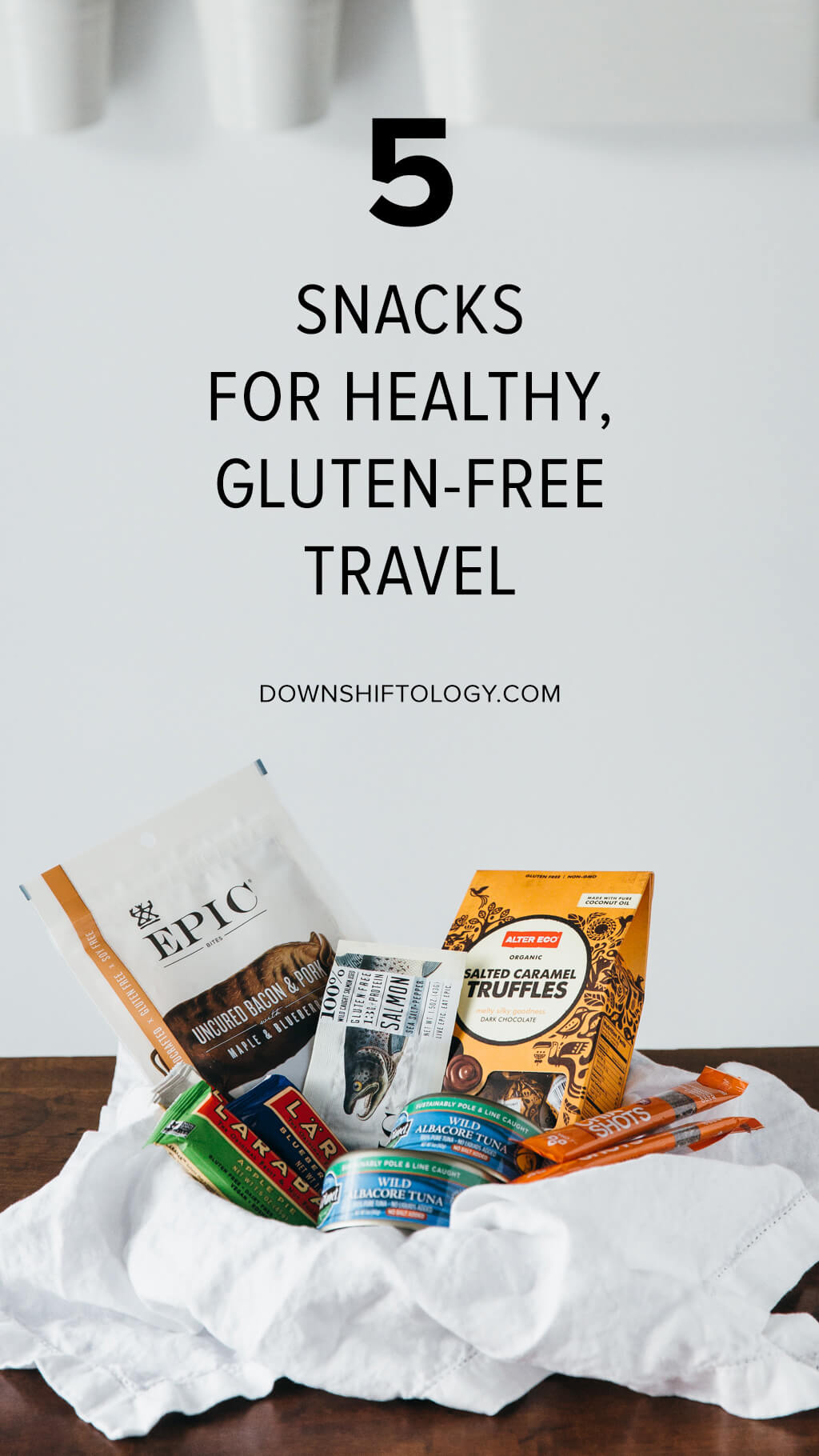"5 snacks for healthy, gluten-free travel. These items are my ""go to"" gluten-free travel snacks. 