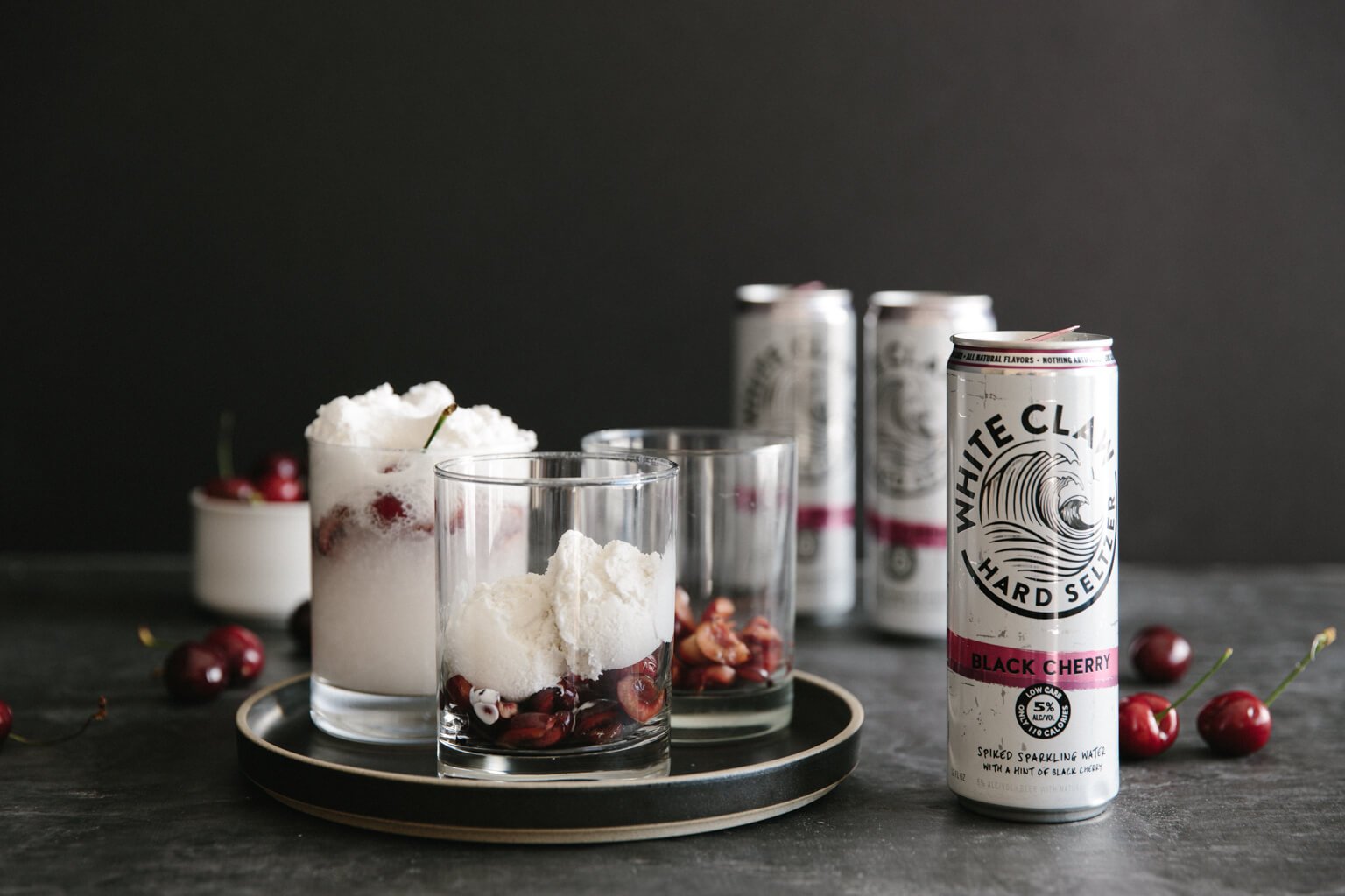 Spiked coconut cherry float (dairy-free, vegan). The perfect cocktail or summertime drink with just a smidge of alcohol.