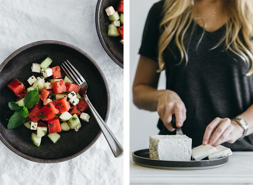 Watermelon, cucumber and feta salad.