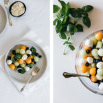 Melon mozzarella salad with basil. A delicious and healthy summer salad.