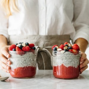 Chia seed pudding is easy to make. Use dairy-free nut milk for a healthy vegan option.