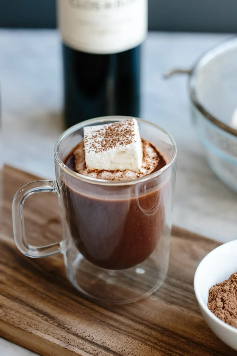Red wine hot chocolate. The ultimate rich and decadent holiday drink.