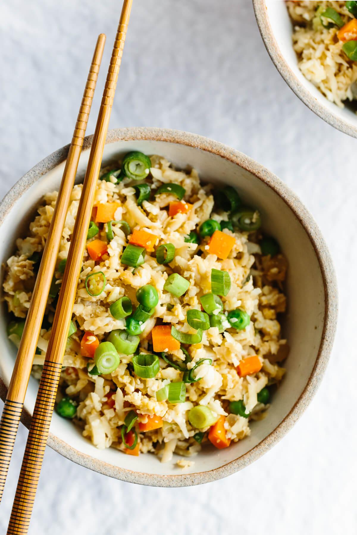 A bowl of cauliflower fried rice.