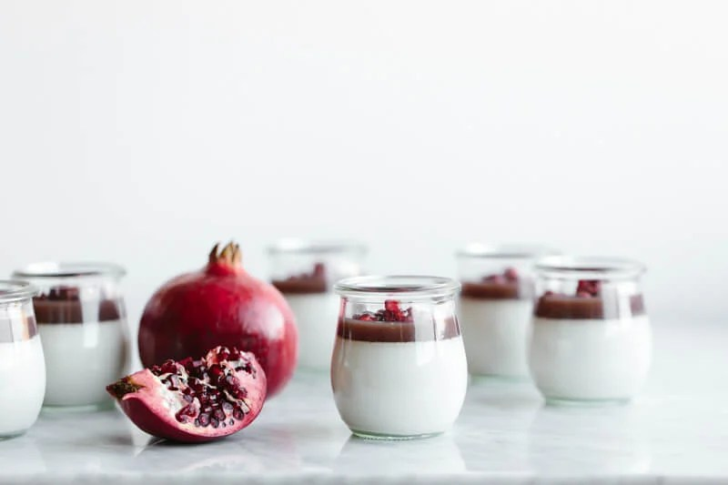(dairy-free, paleo) This gorgeous pomegranate panna cotta is dairy-free, super easy, beautiful, make-ahead friendly and perfect for the holidays.