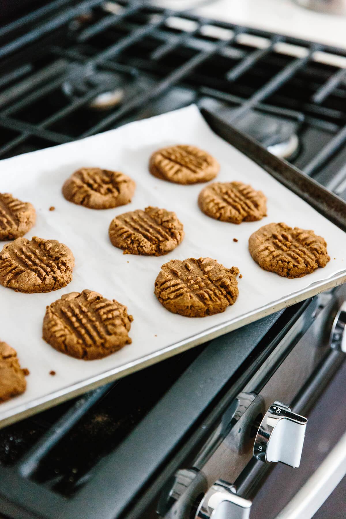 Almond butter cookies straight out of the oven.