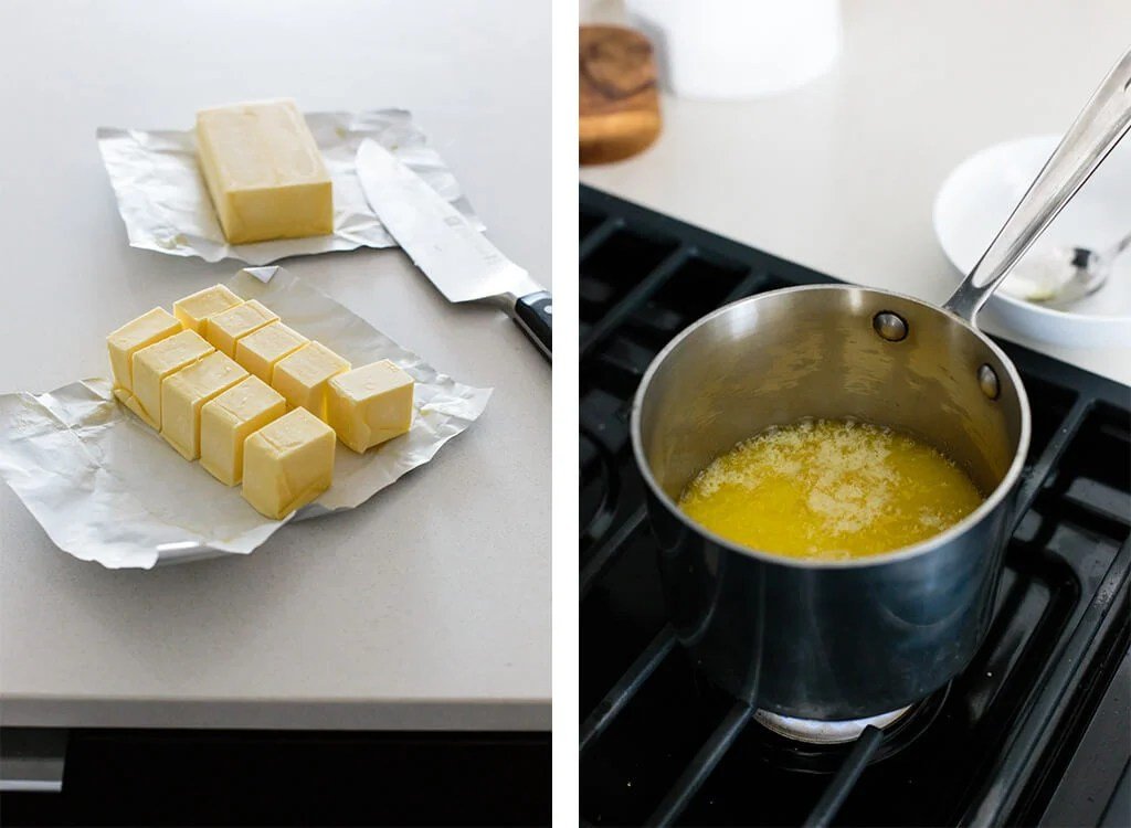 Slicing butter and cooking on the stove to make ghee.