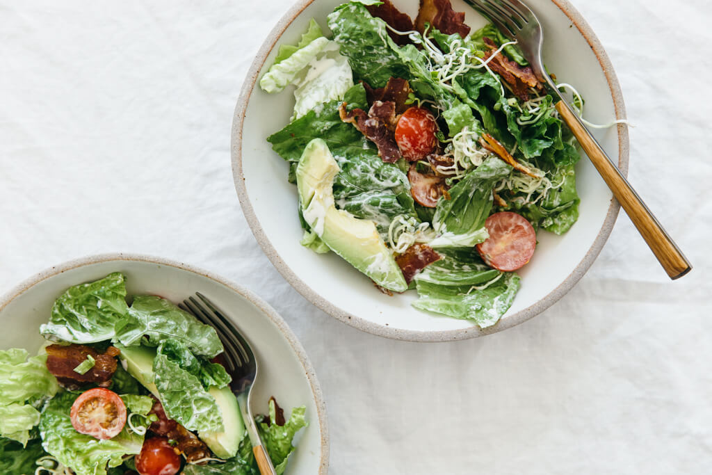 (gluten-free, paleo) This BLT salad takes just like a BLT sandwich, but it's naturally gluten-free.