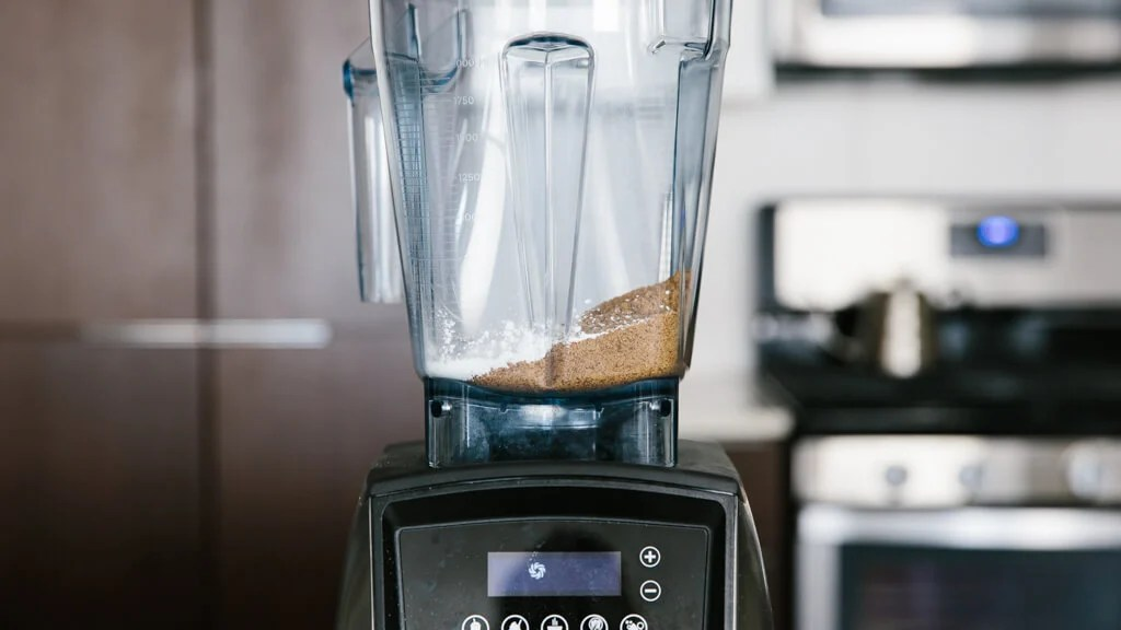 Raw sugar and starch in a blender.