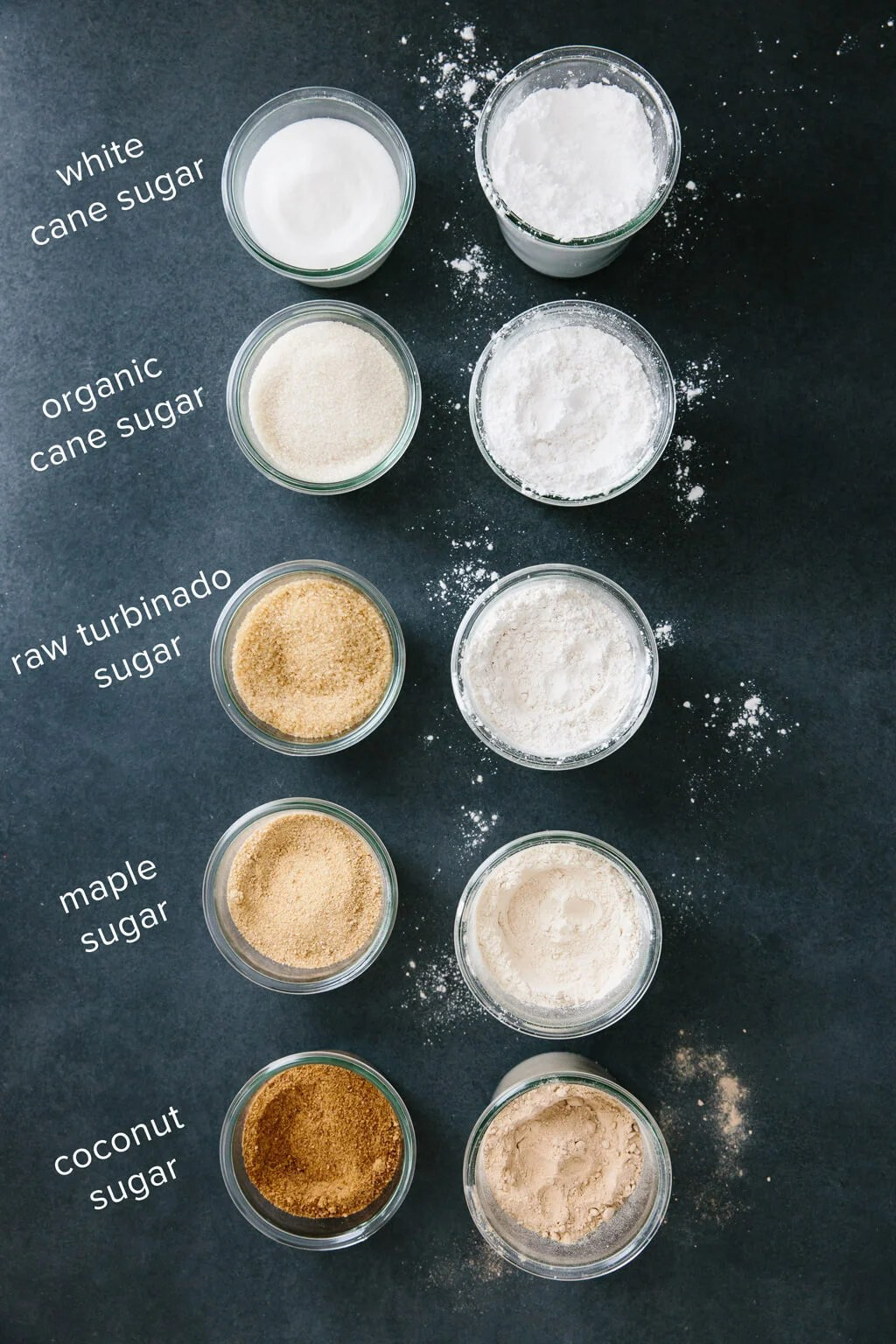 Different types of sugar next to their powdered sugar forms.