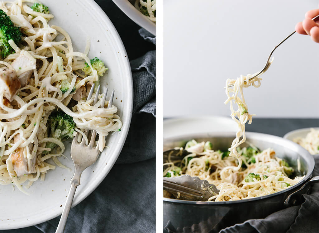 (gluten-free, dairy-free, paleo) This parsnip noodle chicken alfredo is 100% gluten-free and dairy-free. It's a healthier take on the classic chicken alfredo that's absolutely delicious.