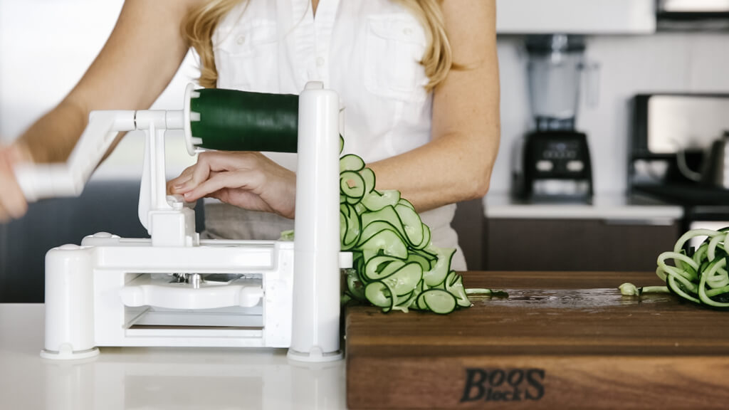 The spiralizer is one of my favorite kitchen tools. So today I'm sharing my favorite vegetables to spiralize along with veggie spiralizer tips and recipes. Learn how to spiralize cucumber.
