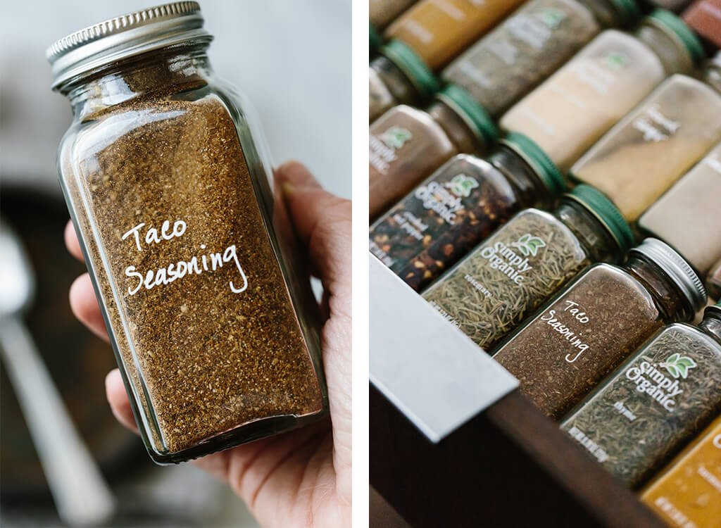 This homemade taco seasoning is super easy, fresh and inexpensive. Did you know store bought packets may contain dairy, cornstarch, preservatives and sugar? Ditch the nasties and make taco seasoning at home!