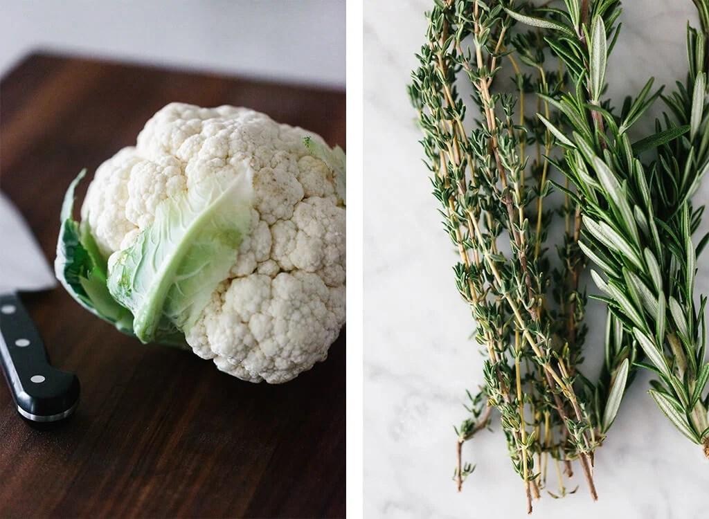 Mashed cauliflower ingredients.