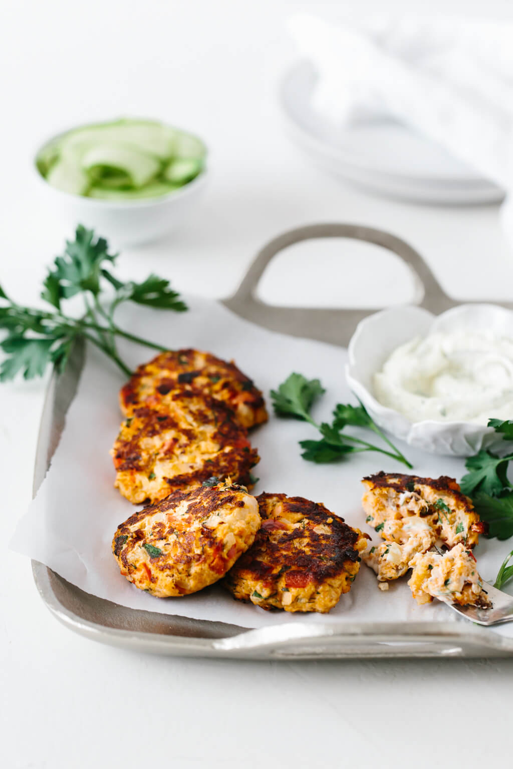 Salmon patties are a deliciously healthy dinner recipe. They're incredibly moist and flavorful and also gluten-free and paleo. I used fresh salmon, but you could use canned salmon as well. #SalmonPatties #HealthyDinnerRecipes #GlutenFreeRecipes #PaleoRecipes #SalmonRecipes