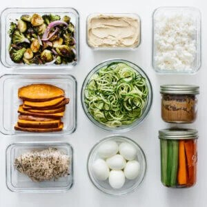 Meal prep ingredients in separate containers.